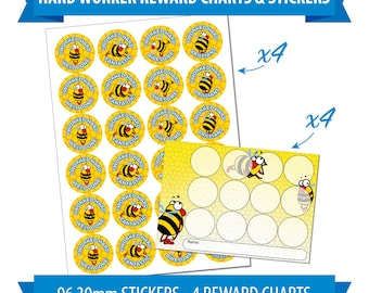 96 30mm Reward Stickers & 4 Reward Charts, Children, Teachers, Award, Bee Theme.
