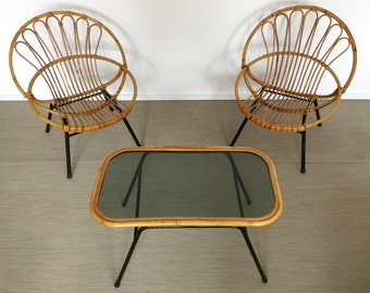 Mid century 50's 60's Lounge rattan/basket/wicked Chair set of 2 chairs and matching table vintage