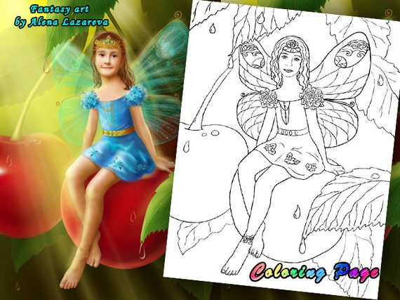 Coloring Page. The little fairy a butterfly in the cherry garden