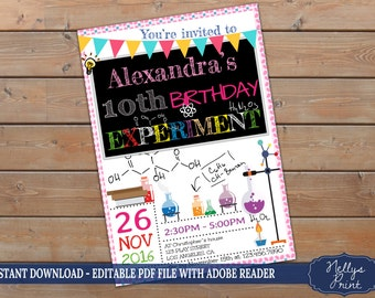 Science birthday party invitation, Science birthday invitation, Science party, Self Editable PDF file, Instant Download, Girl Invitation