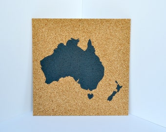 Push Pin Cork Map of Australia and New Zealand (Multiple Colors Available!) Aussie Corkboard Map - Oceania Bulletin Board