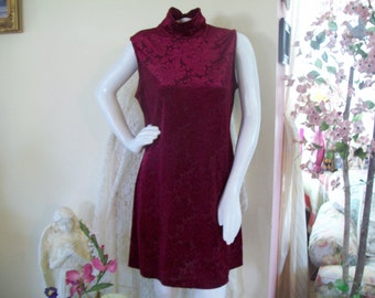 CLEARANCE SALE - Dawn Joy, Wineberry Colored, Crushed Velvet Shift Dress with High Collar, Size 13-14