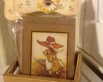 Vintage Holly Hobbie Handmade Greeting Card Set of 4 (Blank)