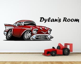 Hot Rod Car & Custom Name Wall Sticker Decal