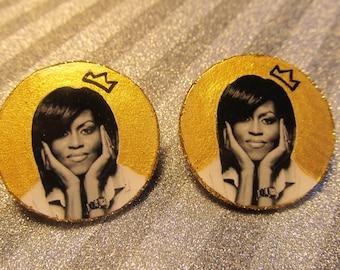 "Michelle Obama ""Queen"" Earrings"