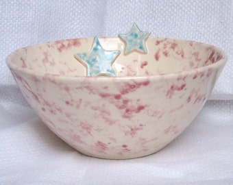 Pink Bowl with Blue Stars