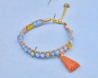 Bracelet GYPSY Pompom Orange