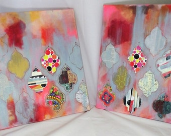 Mixed Media Collage Set of Two Moroccan Ogee canvases pink burgundy orange Persian art girls room decor wall hanging office decor den