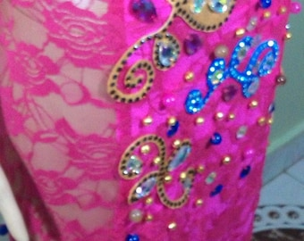 made to order fuchsia belly dance costume