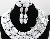 White and Black African Beads Jewelry Set