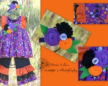 Halloween Pant Set Size 24 months 2T - Purple Pant Set - Ghost Three Piece Fancy Pant Set - Holiday Casual Wear - Girls Clothing Set Size 3T