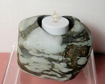 River Rock Candleholder, Tealite Candleholder,Candleholder, Tealight Candle Holder, Stone Candleholder, Rock Candleholder # 3
