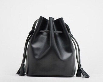 Leather bucket bag black bucket bag leather crossbody bag handbag leather shoulder bag leather bag red brown bucket bag
