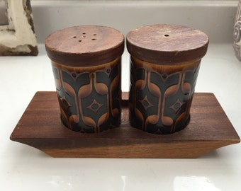 Hornsea Heirloom Salt and Pepper Pots on a Wooden Stand Condiments Vintage Retro