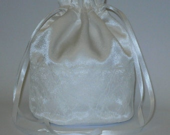 White Satin & White Lace Dolly Evening Handbag Or Purse For Wedding Or Bridesmaid