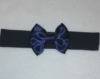 Baby's Navy Blue Cotton Lycra Hair Band with Satin Bow 0-36 months Headband