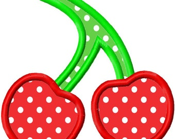 Cherries Applique Machine Embroidery Design 3x3 4x4 5x5 Cherry Summer Fruit INSTANT DOWNLOAD