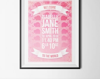 Welcome to the World, Baby Arrival Artwork, Beautiful Baby Keepsake, Downloadable Personalised Print