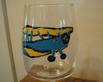 Hand painted vintage airplane wine glass