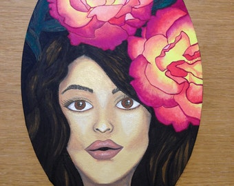 Rosalie, original painting, gouache, canvas