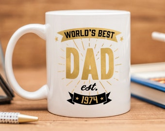"Mug for Dad, with quote ""World's best Dad"" and a date of your choice"