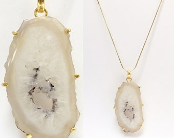 Natural Geode Slice Druzy Gold Plated Pendant Necklace