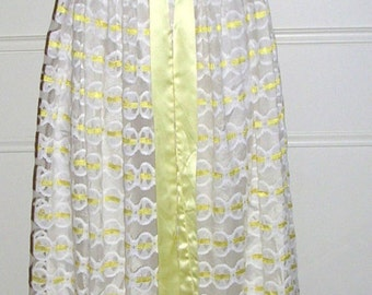 Vintage 1960's buttercup yellow satin lace & ribbon maxi dress by Mary Charmaine size: 8