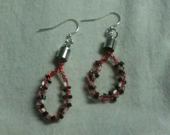 Blue and White Antique Seed Bead Weaved Earrings