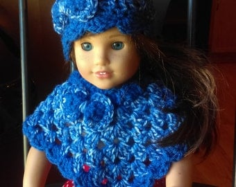 """Matching Poncho, Hat for American Girl Doll/ Bitty Baby/ Most 15-18"""" Dolls/ Doll Clothing/ Doll Accessories/ Color of Denim Mist with Bow"""
