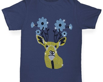 Boy's Flower Deer Rhinestone Diamante T-Shirt