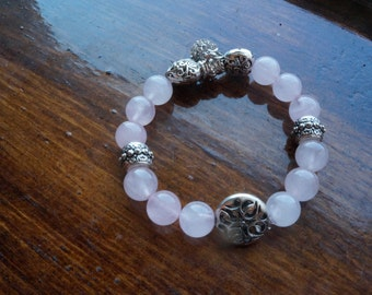 Translucent White Beaded Bracelet with Silver Accents