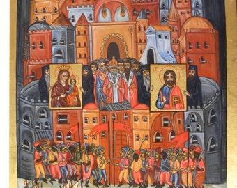 Byzantine icon / handpainted / collectible art /UNIQUE / 24 karats gold icon / orthodox icon / art icon