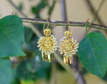 Long gold-plated earrings