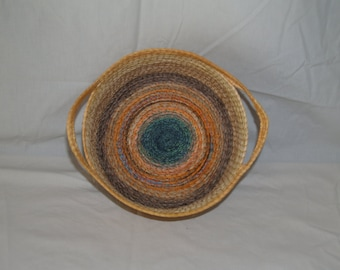 Basket, sisal, round, HANDMADE, #27 beige and yellow with multi-colored bottom