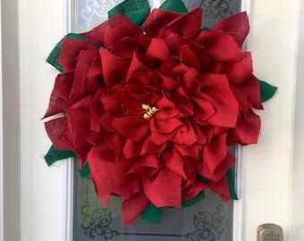 Burlap Poinsettia Wreath // Christmas Wreath // Christmas Decor // Front Door Decor