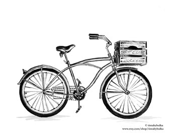 BICYCLE Painting Bicycle Art Bicycle Wall Decor Bicycle Print Vintage Bike