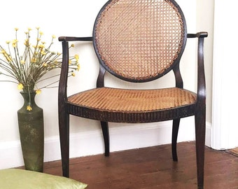 Antique Bergere Seated Open Armchair