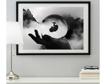 """Digital print """"Life"""", Digital download print, Surreal art, Surrealism, Home decor, Wall art, A2, A3, B2, B3 poster"""