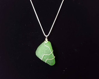 Wire wrapped Beach glass Necklace - Sterling Silver