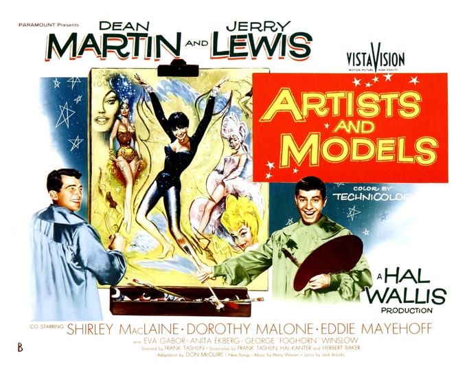 """Lobby Card From the Film """"Artists and Models"""" Starring Dean Martin and Jerry Lewis (Reproduction) - 8X10 or 11X14 Photo (MP-003)"""