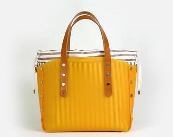 Orange colour with striped bag small shopper