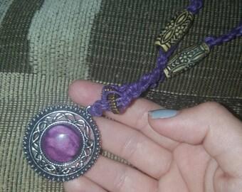 Purple hemp necklace