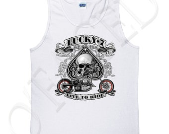 LUCKY 7 Adults Sleeveless Tee Lucky Number 7 Tank Top for Men Live to Ride Bikers Tanks - 1248C_GMTT