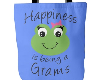 Grams Tote Bag - Happiness is being a Grams - Perfect Gift for Grams - Grams Book Bag