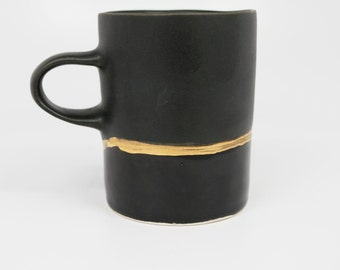 Handmade Gold Striped Ceramic Mug