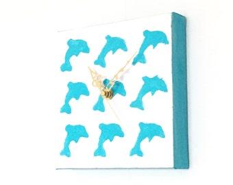 Blue Dolphin Canvas Clock