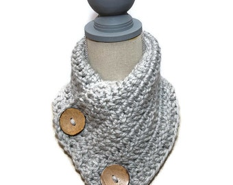 Childrens Big Button Scarf -  Wool Blend