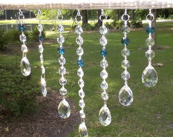 Beautiful Crystal Suncatcher with Teal Accents