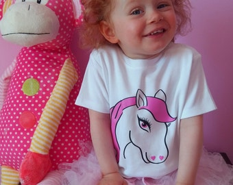 Toddler Pony T-Shirt, 18/24mth, Girls, Toddler, Pink, Unicorn, Horse, Girls unicorn tshirt, Girls unicorn top, Kids unicorn tshirt, baby