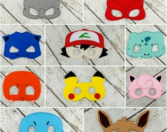 10pc Pokemon Inspired Mask Set - Party Favor - Dress up - Pretend Play